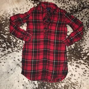 Girls red plaid ruffle flannel dress size 10